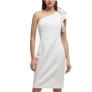 DKNY   One Shoulder Ruffle Scuba Sheath Dress   8